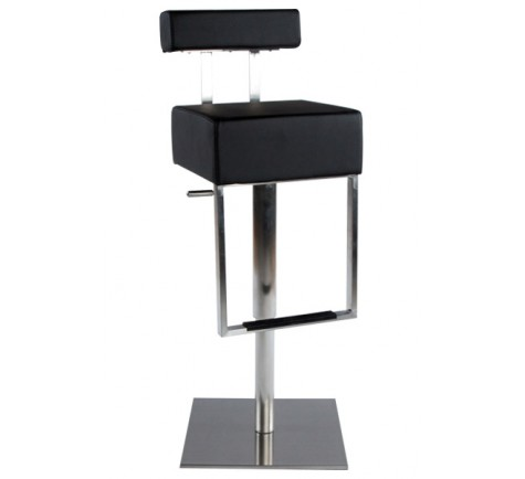tabouret de bar simili cuir noir acier bross inoxydable disponible en blanc. Black Bedroom Furniture Sets. Home Design Ideas