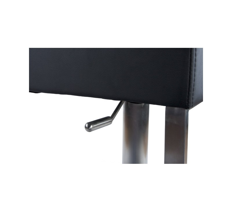 tabouret de bar simili cuir noir acier bross inoxydable. Black Bedroom Furniture Sets. Home Design Ideas