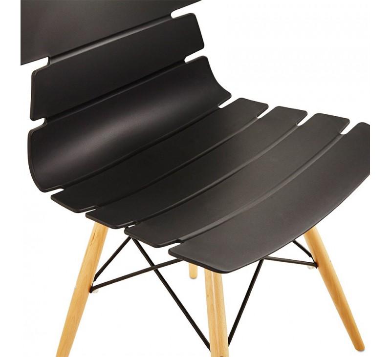 chaise moderne style scandinave en bois et polypropyl ne coloris noir ou blanc ou gris. Black Bedroom Furniture Sets. Home Design Ideas