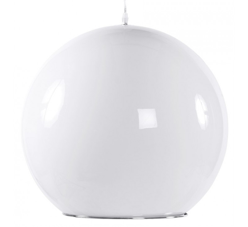 Suspension boule design plastique blanc for Suspension boule design