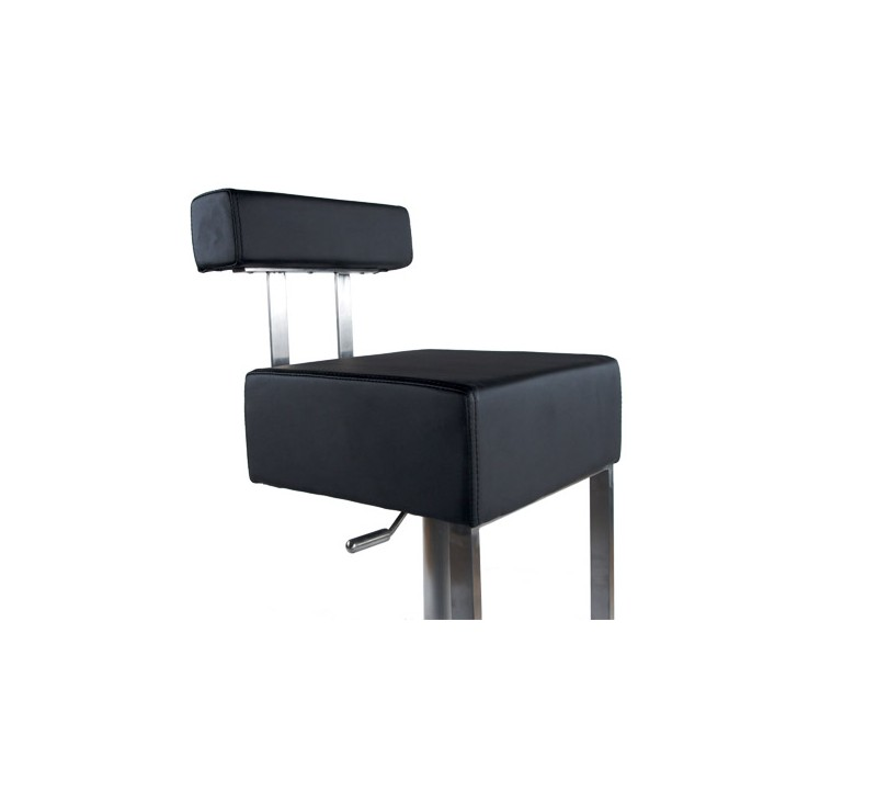 tabouret de bar simili cuir blanc acier bross inoxydable disponible en noir. Black Bedroom Furniture Sets. Home Design Ideas