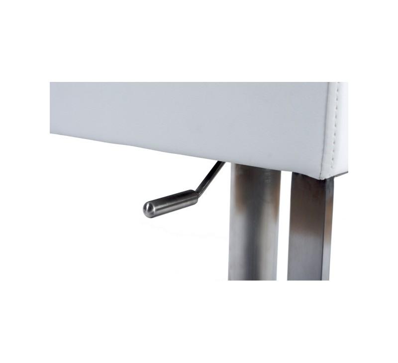 tabouret de bar simili cuir blanc acier bross inoxydable disponible en noir. Black Bedroom Furniture Sets. Home Design Ideas