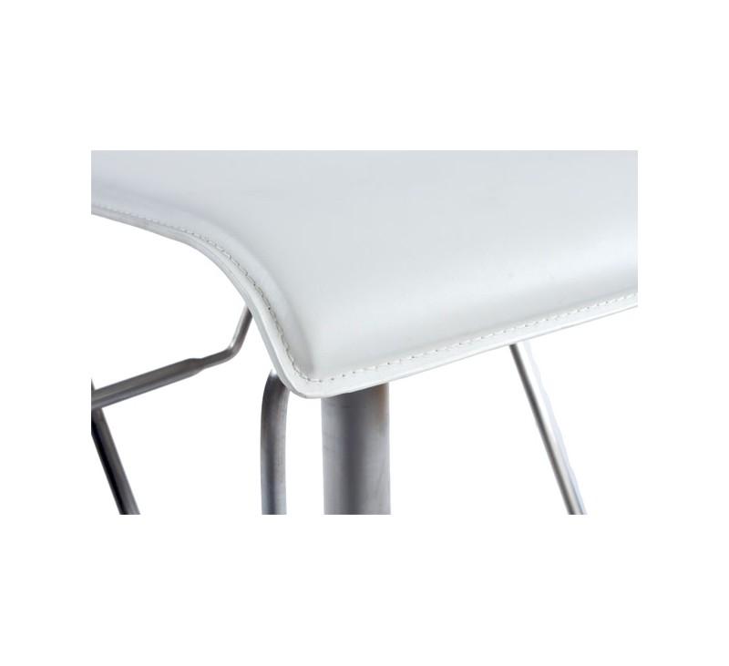 Tabouret de bar design en similicuir noir rembourr avec pi tement en acier bross inoxydable for Tabouret de bar inox avignon