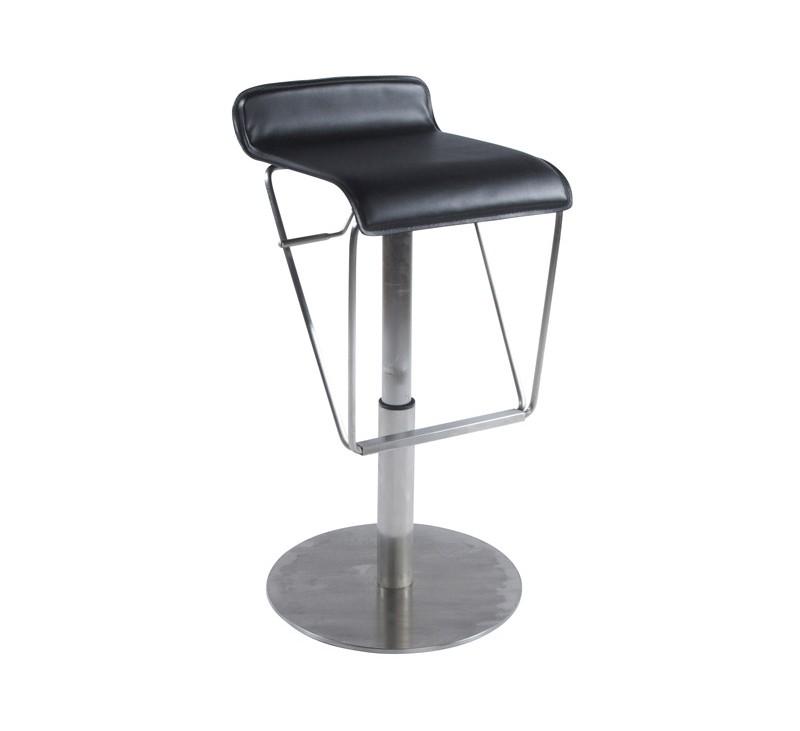 tabouret de bar design en similicuir noir rembourr avec pi tement en acier bross inoxydable. Black Bedroom Furniture Sets. Home Design Ideas