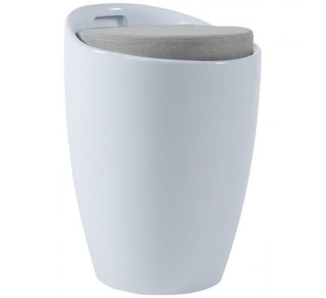 Tabouret bas GUMMER coffre d'appoint design Blanc
