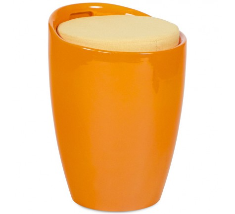 Tabouret bas GUMMER coffre d'appoint design Orange