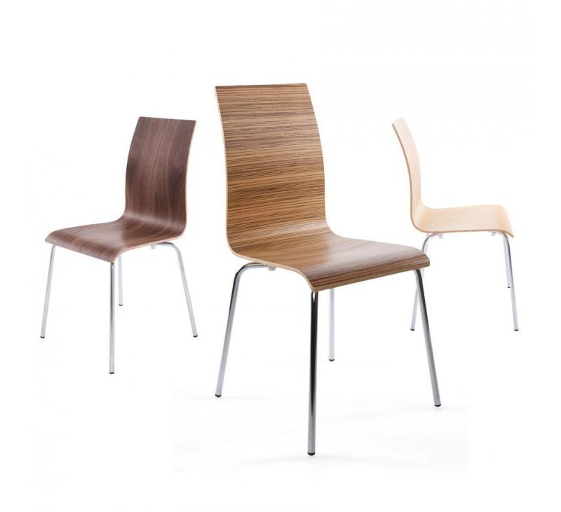Chaise moderne 4 pieds en bois cintré coloris zebrano