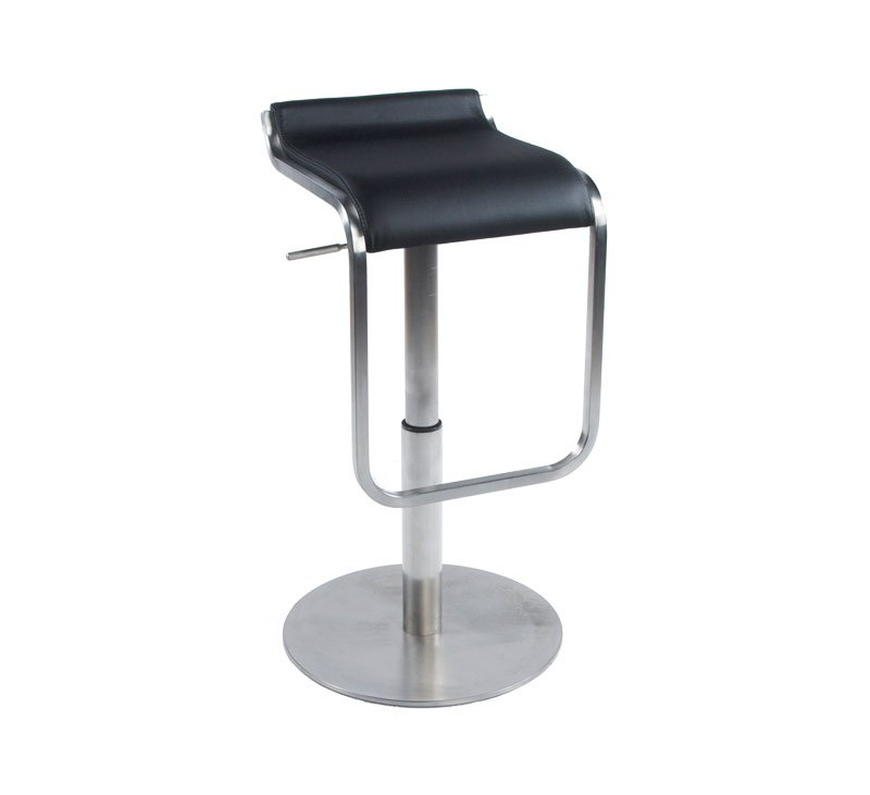 tabouret de bar inox et similicuir blanc disponible en noir pour cuisine et bar restaurant. Black Bedroom Furniture Sets. Home Design Ideas