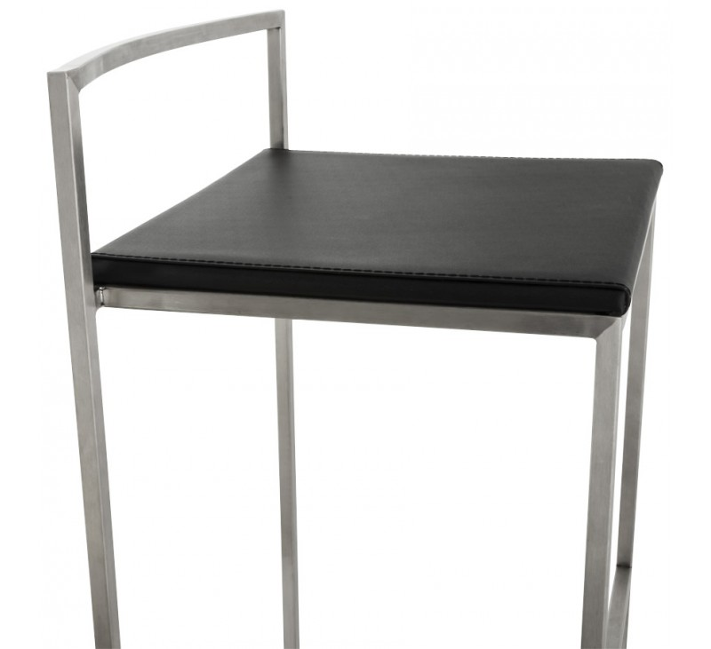 tabouret de bar retro avec en similicuir noir et acier. Black Bedroom Furniture Sets. Home Design Ideas