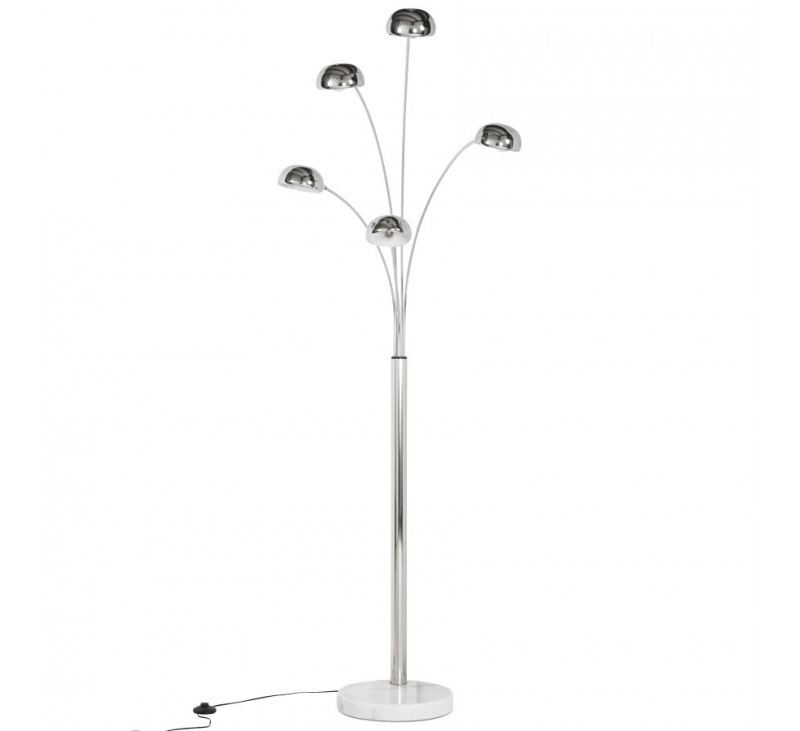 Lampadaire 5 branches design m tal multicoloris disponible en coloris m tal - Lampadaire 5 branches ...